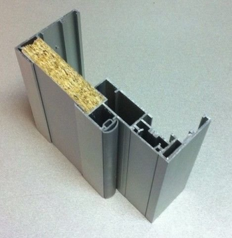 Алюминиевый профиль для стеклянной двери с теплоизоляцией внутри