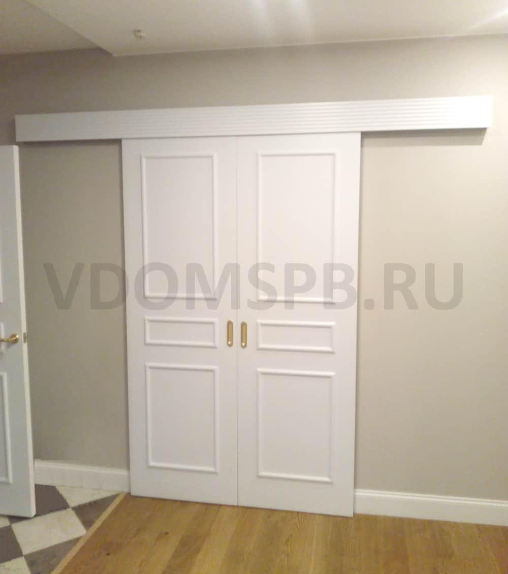 Белая раздвижная двустворчатая дверь