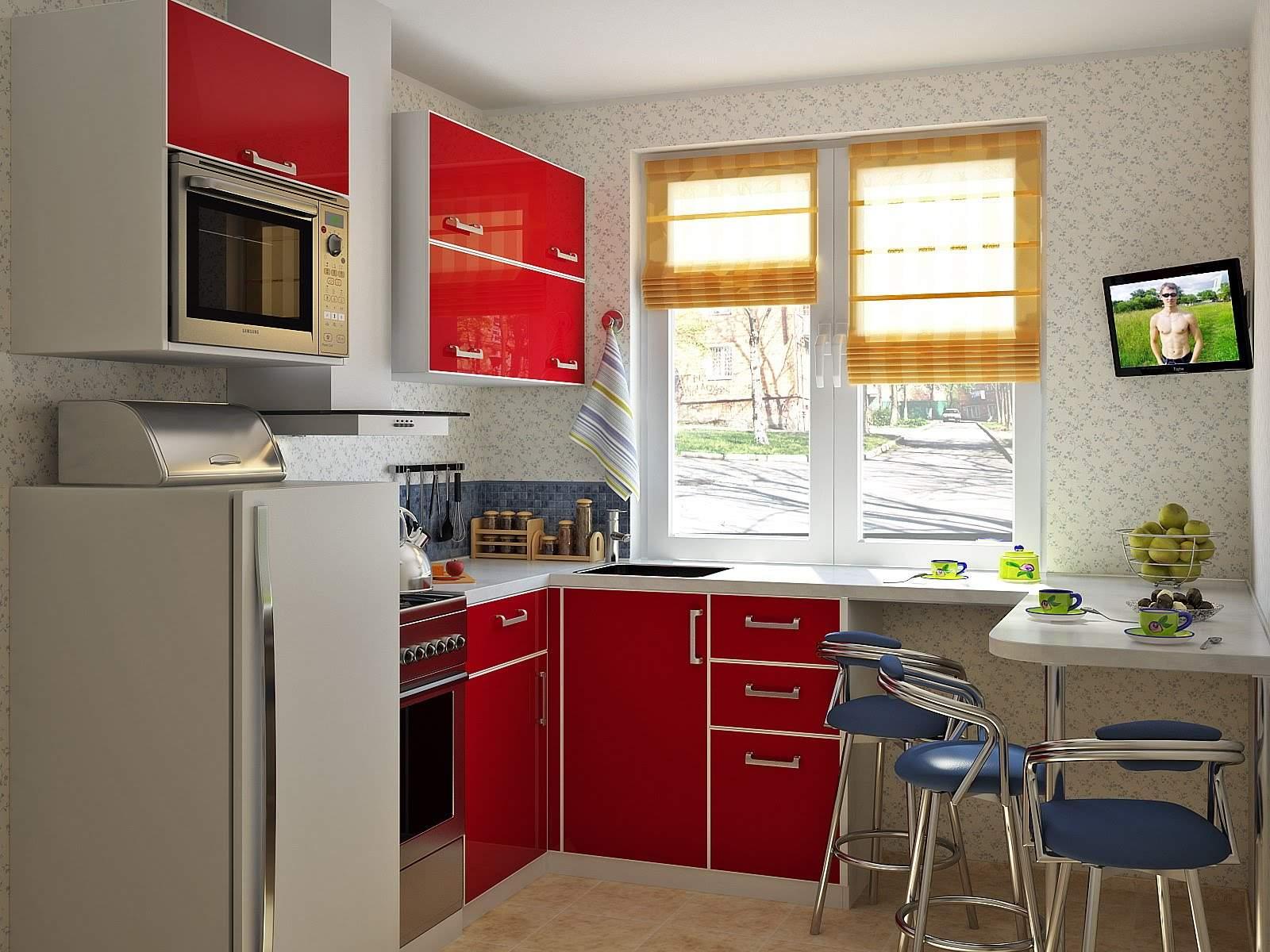 Нестандартная расстановка мебели в маленькой кухне