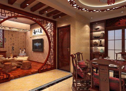Арка в помещении с интерьером в японском стиле