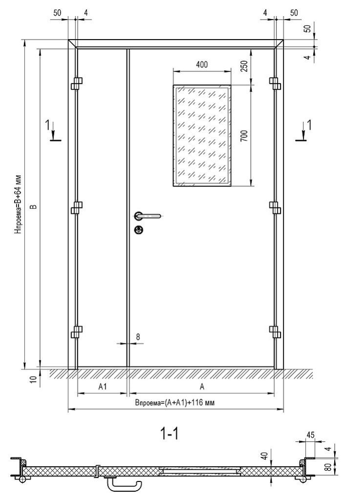 Чертёж металлической двери