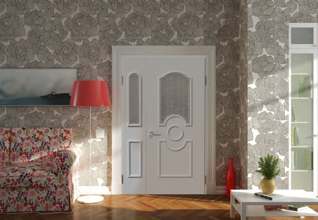 Домашний интерьер с пластиковой дверью