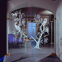 Пример маятниковых дверей из стекла