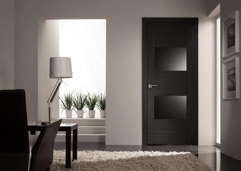 Использование черного цвета в отделке двери