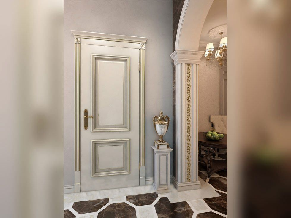 Двухфилёнчатая дверь в интерьере жилого помещения