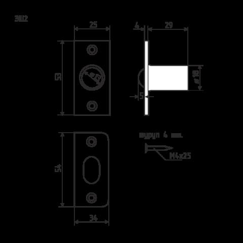 Если в упаковке нет похожей схемы, просто измерьте защелку линейкой или сантиметровой лентой