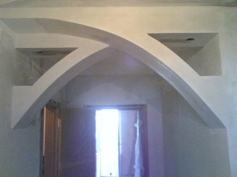 Из гипсокартона проще всего создавать арки сложной формы