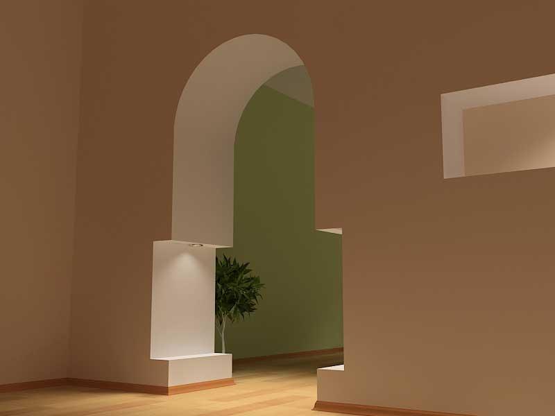 оформление арочного проема шторами