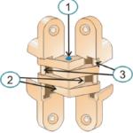 Основные элементы скрытой петли: центральная поворотная ось (1), рычаги (2), две неповоротные оси (3)