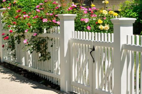 Особенно легко и изящно выглядят белые решетчатые калитки на фоне садовых растений и цветов