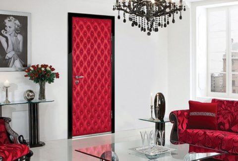Отделка двери тканью в тон мебели