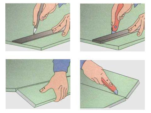 Подготовка листов гипсокартона к монтажу