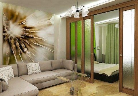 Пример зонирования под зал и спальню