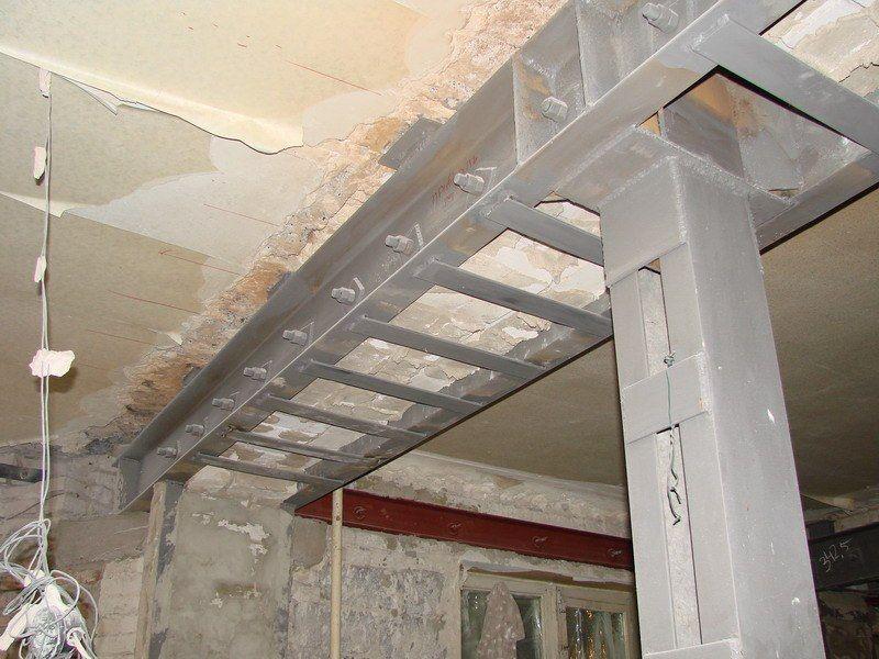 Проектируемое усиление широкого проёма в толстой стене