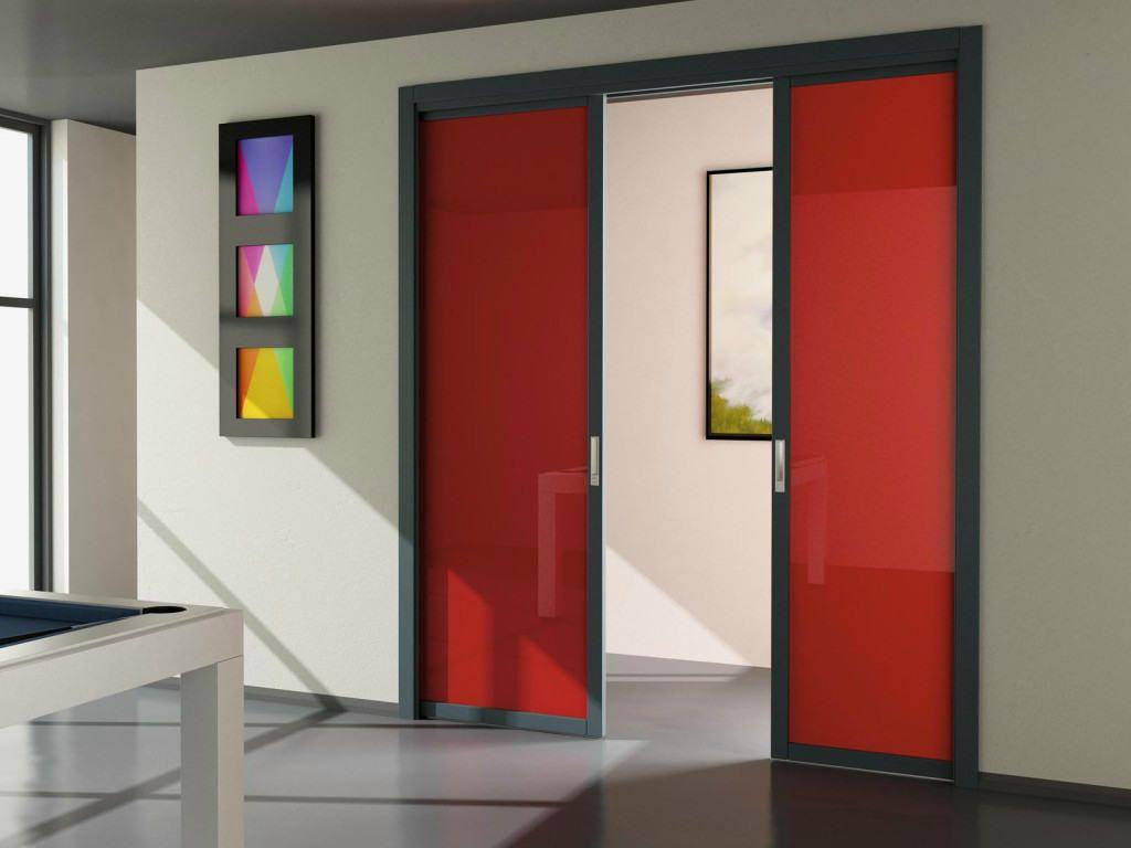 Раздвижная двупольная дверь из цветного стекла