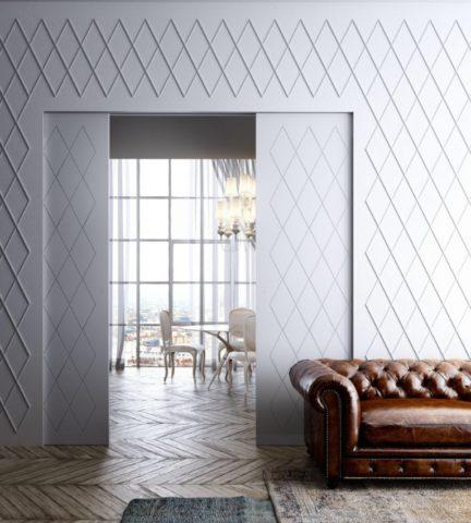 Раздвижной вариант потайной двери