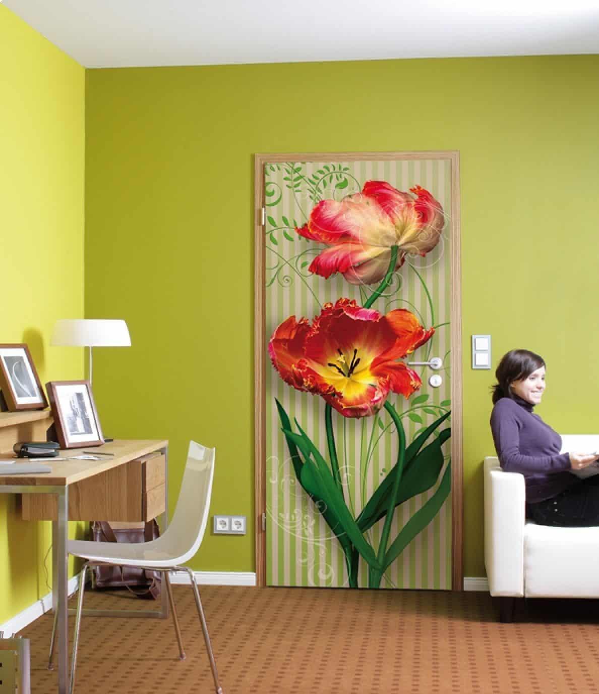 Рисунок на двери: варианты декорирования  Простой Интерьер Рисунок
