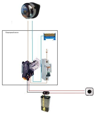 Схема соединения звонка, работающего от батарейки