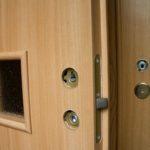 Шпонированная дверь с установленной фурнитурой