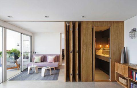 Складные двери «гармошка» для зонирования квартиры -студии
