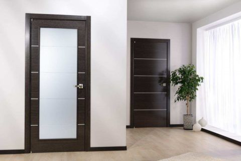 Сочетание тёмно-коричневых дверей и плинтусов, со светлым основным фоном и напольным покрытием