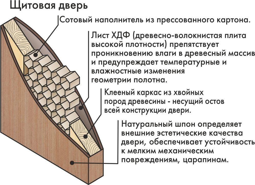 Структура фабричной щитовой двери