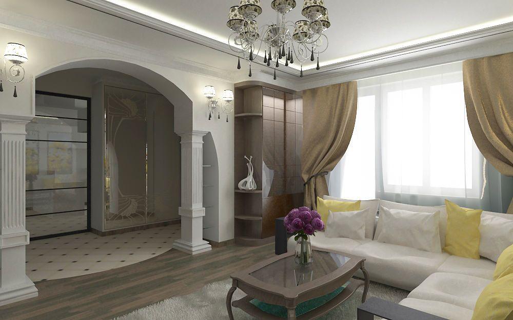 Вариант для интерьера: арка из гипсокартона, колонны из пенопласта