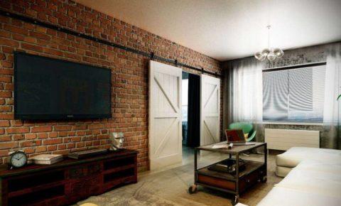 Вариант оформления интерьера гостиной в типовой городской квартире