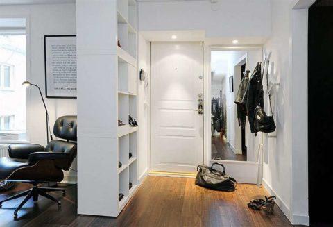 Вариант оформления прихожей в квартире студии в скандинавском стиле