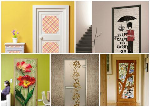Варианты декорирования дверных полотен обоями